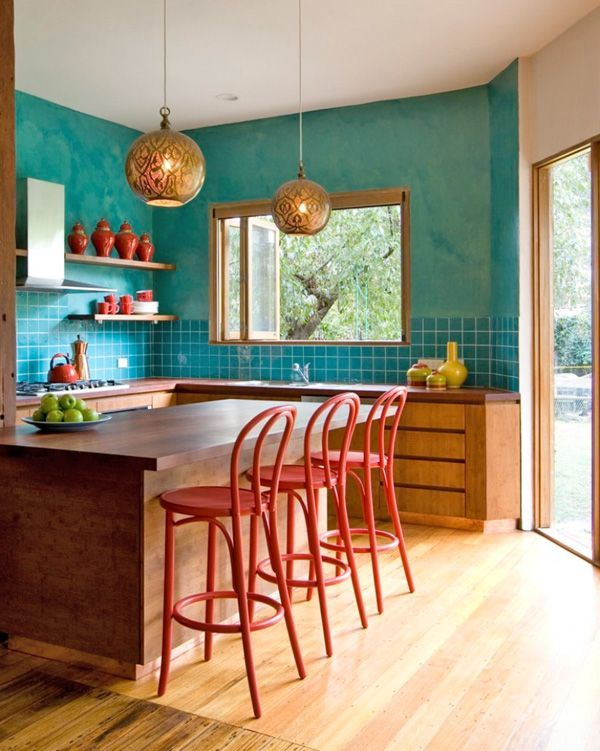 31 bright and colorful kitchen design inspirations turquoise design and tile on kitchen ideas colorful id=36540