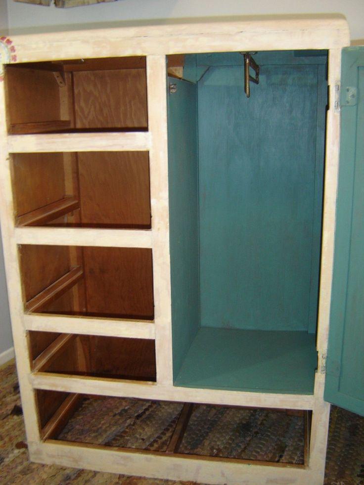 Vintage 50s Child Youth Chifferobe Closet Dresser Armoire