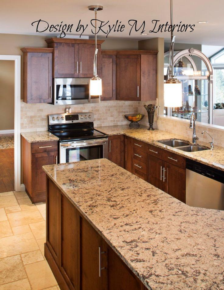 kitchen travertine floor dark caninet backsplash   … dark ... on Dark Maple Cabinets  id=83058