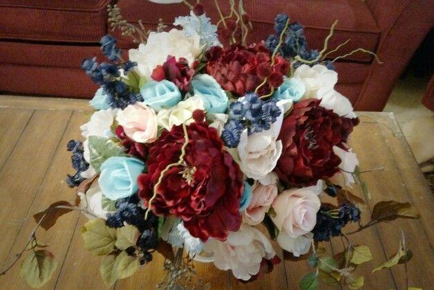 Navy, Maroon, Light Pink, And Ice Blue Wedding