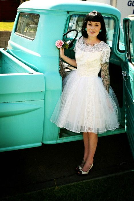 Vintage 50s Wedding Dress wedding car #retro wedding … Wedding ideas for brides, grooms, parents planners …
