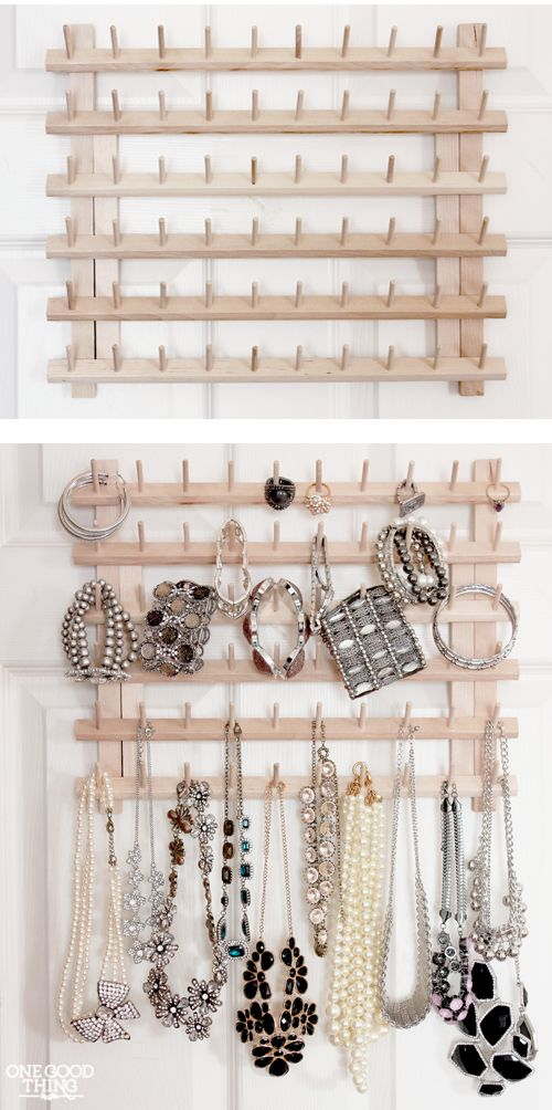 From Thread Rack To Jewelry Organizer! A super simple idea for less than $10.   One Good Thing By Jillee