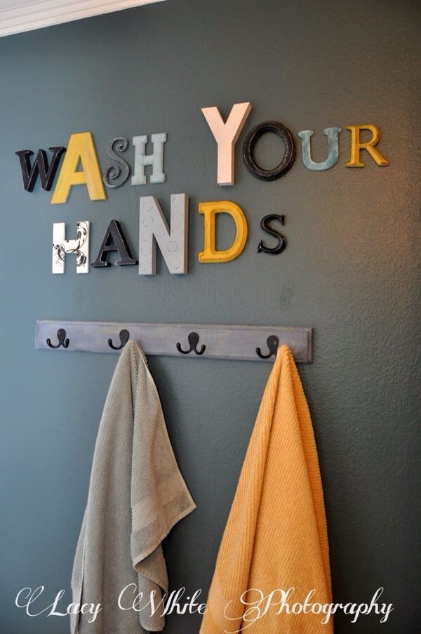 Great and simple idea for bathroom walls. Other wording ideas: Wash Up / Get Nak