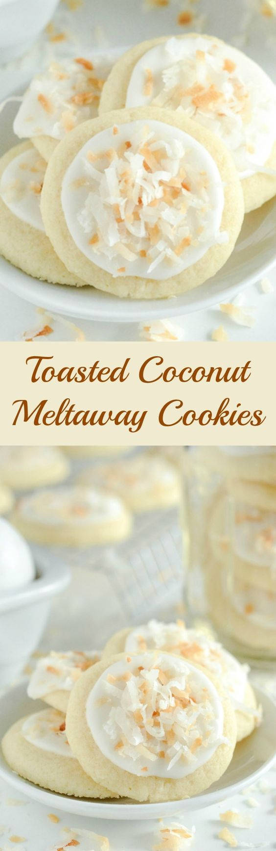 Coconut Meltaway Cookies – a soft coconut shortbread cookie topped with royal icing and toasted coconu