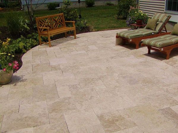 pinterest outdoor patio tiles LOVE the travertine patio | For the Home | Pinterest
