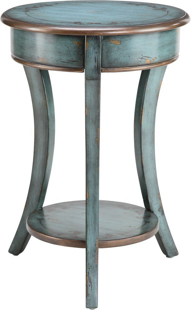 Round Accent Table With Shelf In Antique Blue Crackle Finish Dream Home