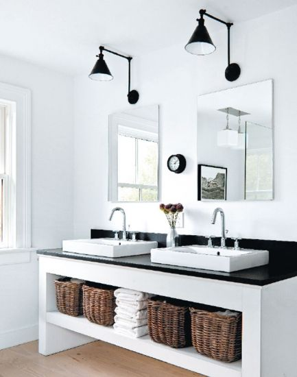 swing arm lamps + open shelving.  clean and simple | Hamptons Cottages & Gardens – August 1 2012 – Hamptons