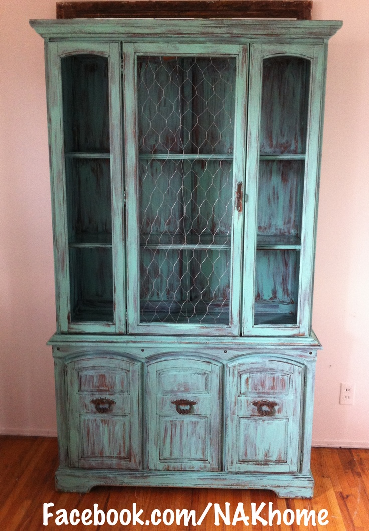 Furniture Makeover Old Hutch With Broken Glass Door Replaced With Chicken Wire And Painted With