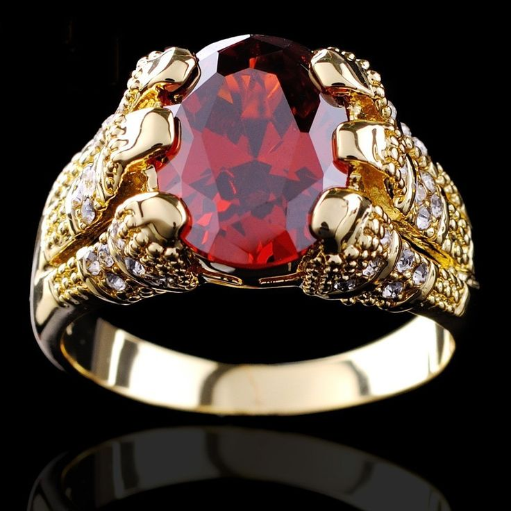 Yellow Gold Filled Ruby Ring Mens 10KT Finger Rings For