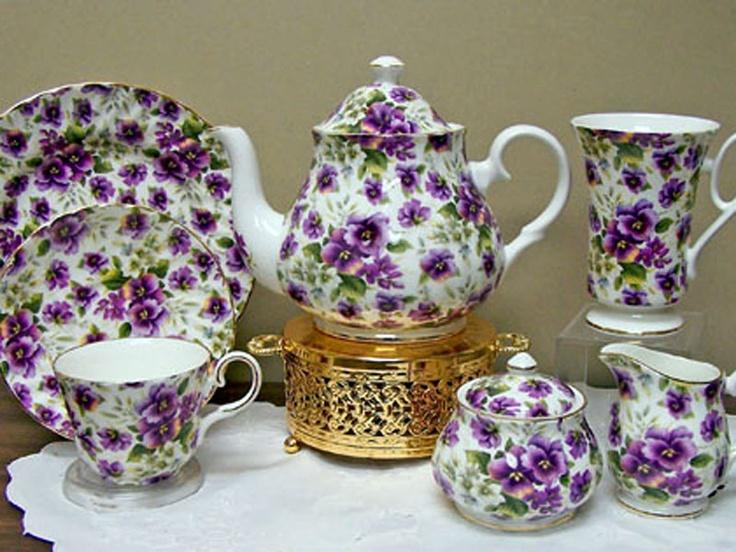 Pansy Chintz Bone China Teapot Set Its Purple Fine