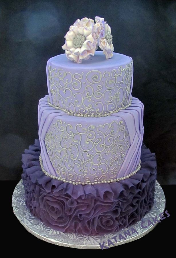 Purple Fondant Ruffles And Silver Piping Wedding Cake