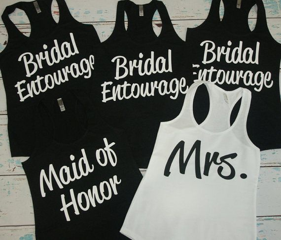 8 Bridesmaid Tank Top. Bride, Maid of Honor, Matron of Honor, Mother of the Bride, Wifey, The Mrs. Bridal Party tanks.