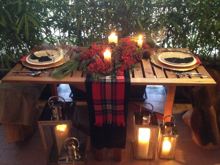 Romantic Christmas Table Setting For Two Holyday