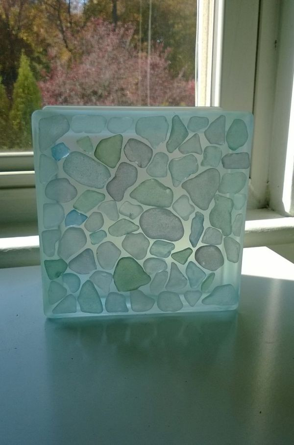 Frosted glass block with pastel sea glass   Sea Glass ...