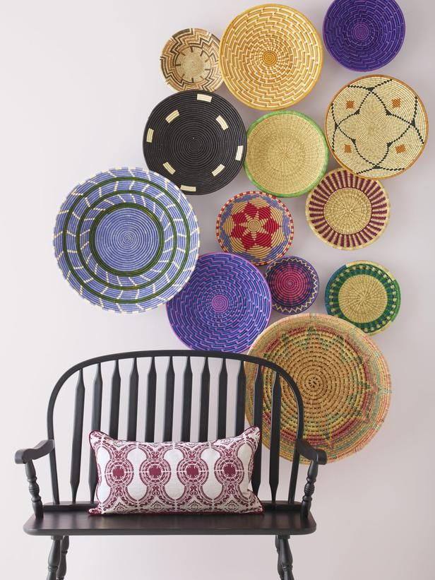 What a fun way to decorate! Try hanging woven baskets of different sizes and colors. #hgtvmagazine http://www.hgtv.com/walls-doors-and-floors/7-ways-to-fill-up-your-walls/pictures/page-5.html?soc=pinterest: