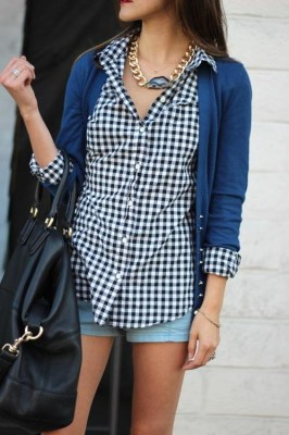 gingham / cardigan / denim shorts: simple, elevated with a great bag and chunky necklace!