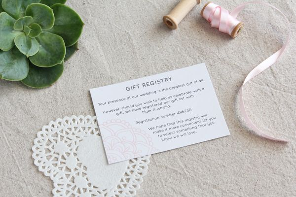 Pink Henna Wedding Invitation Suite, Gift Registry Card
