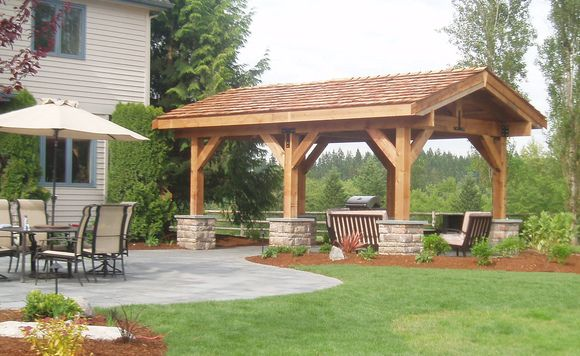 Outdoor Gazebo Using Western Red Cedar Shakes On The Roof