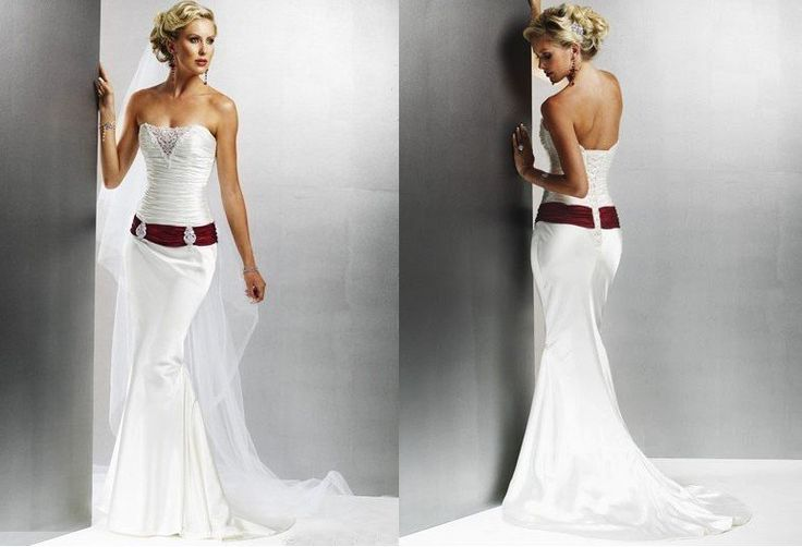 White Wedding Dress With Red Sash