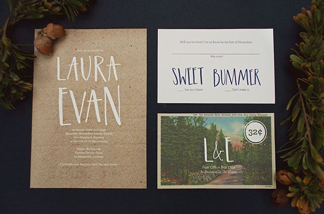 Nature Themed Winter Wedding Inspiration – great invitation suite with adorable typography featured on Green Wedding Shoes