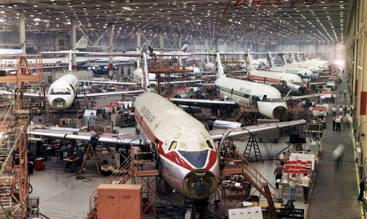 Busy days at the douglas factory building dc9 aircraft