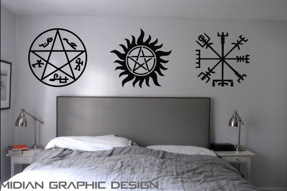 Supernatural Inspired Warding Protection Sigils Tattoo Wall Art Decal Witchy Pinterest