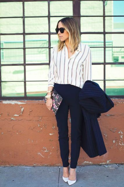 love the striped blouse