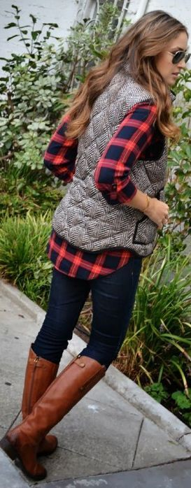 plaid button up, herringbone vest, skinny jeans and boots – fall fashion at its best! || Modest Style || Modest Fashion || Modest