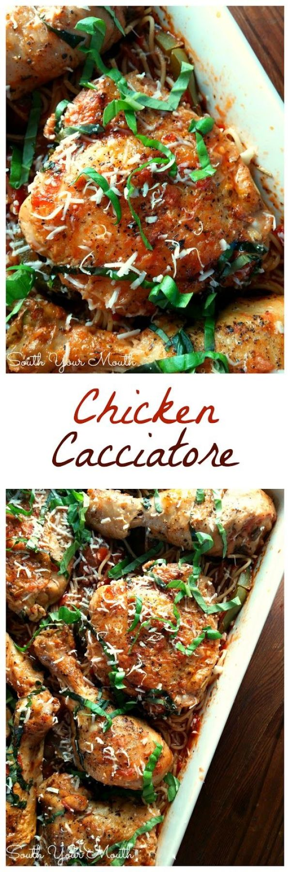 Chicken Cacciatore! This recipe can be made in the oven or crock pot! The chicken just falls off the bone after it stews in the rich tomato sauce.: Chicken Cacciatore! This recipe can be made in the oven or crock pot! The chicken just falls off the bone after it stews in the rich tomato sauce.