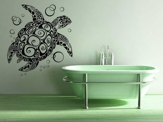 Turtle, Tortoise, Bubbles – Decal, Sticker, Vinyl, Wall, Home, Bathroom, Aquariu