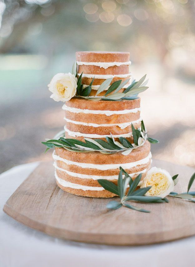 Naked Wedding Cake Style beautiful naked wedding cake | Photo by Jemma Keech Photography: