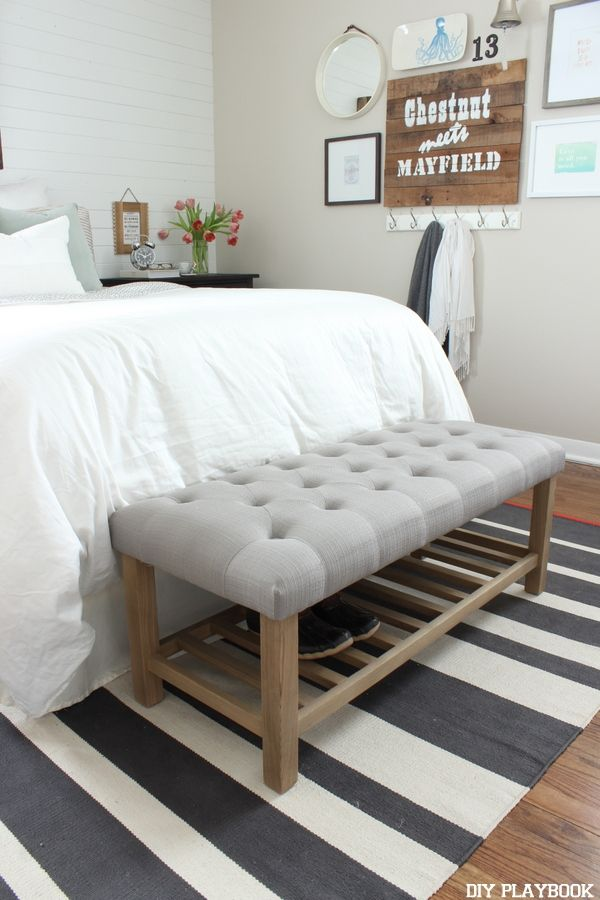 Add A Tufted Bench At The Bottom Of Your Bed To Give Bedroom More