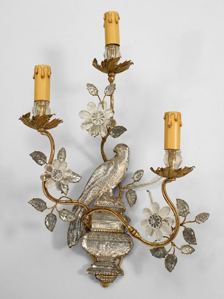 Pair Of French 1940s Mirrored Glass And Gilt Metal 3 Scroll Arm Wall Sconces With Parrot Perched