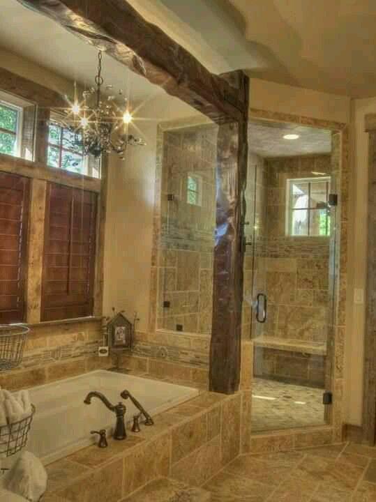 What A Bath Bathroom Pinterest Window Exposed Beams