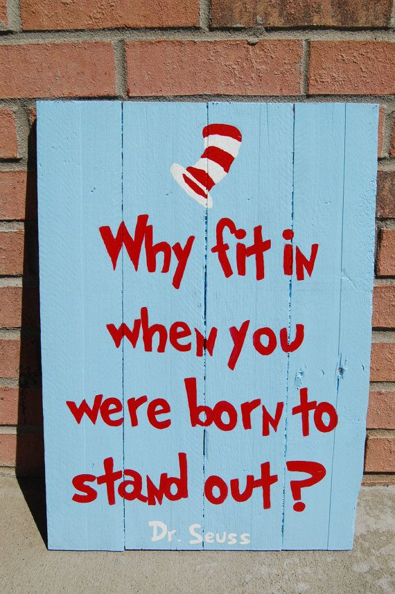 """Hand-painted Dr. Seuss pallet art.  This was made for a Cat in the Hat themed nursery.  """"Why fit in when you were born to stand"""
