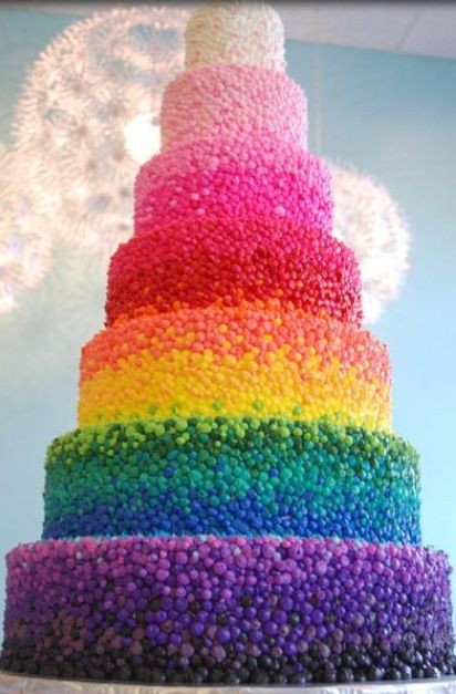 Its a rainbow cake. I wonder how long it took to make this. Probably 5 days.