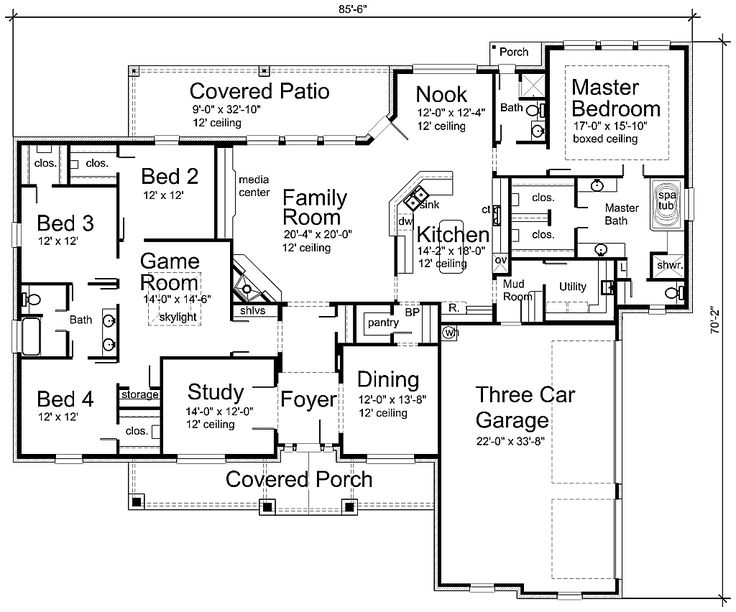 I LOVE this floor plan. Modify bedrooms on the left to two bedrooms with a j bat
