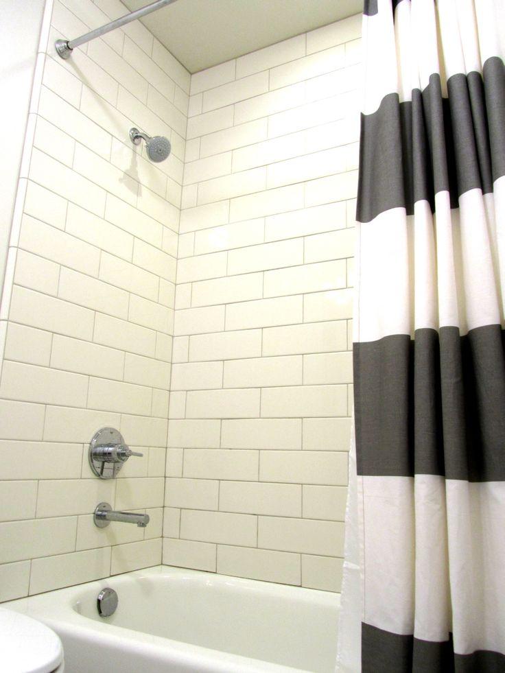 Shower Curtainrod West ElmTarget Shower Tilegrout Subway Daltile 4x12 BiscuitMapei