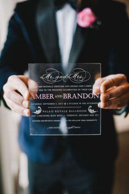 Plexi Acrylic Wedding Invitation | Rachel A Clingen...we ♥ this! moncheribridals.com