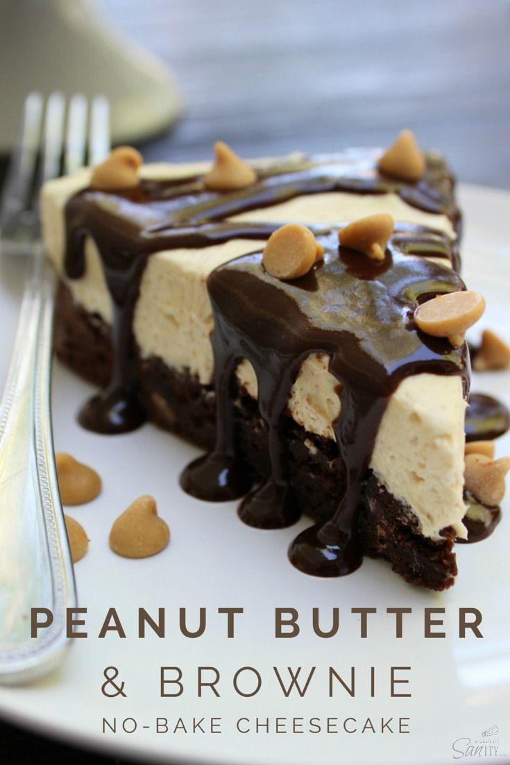 Peanut Butter & Brownie No-Bake Cheesecake