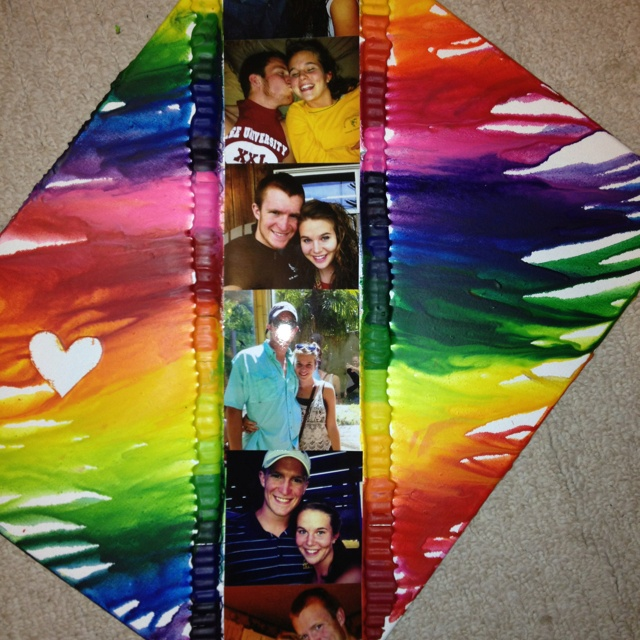 Melted Crayons With Pictures Of Me And My Bf In The Middle