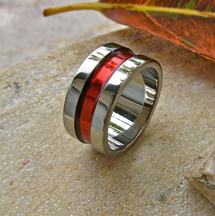 Firefighters Thin Red Line Titanium Wedding Band