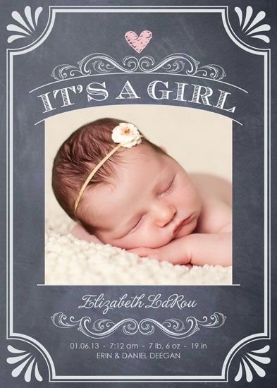 Birth Announcements Its A Girl Vintage Chalkboard By