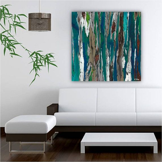 Very Large Blue Teal Canvas Print Wall Art Abstract Landscape Living Room Dining Office Artwork Trees Famly Decor Bedroom