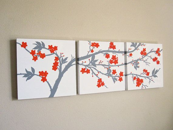 canvas wall art set 3 piece triptych abstract orange and on canvas wall art id=13334