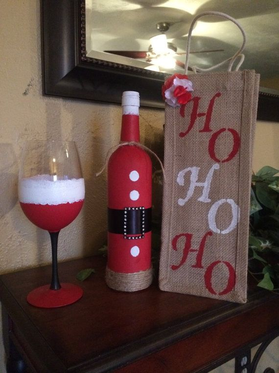 This is a perfect party gift! Hand painted wine glass with bottle and bag
