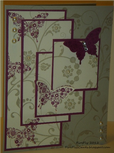 FireFlys Cards – Stampin Up! Quadruple Time Stamping with Flowering Flourishes a
