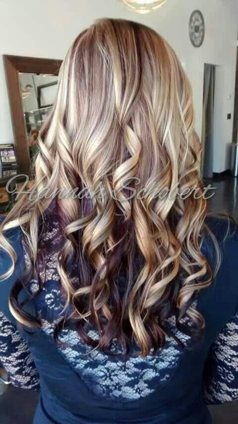 Blonde Highlight With Burgundy Violet Purple Maroon
