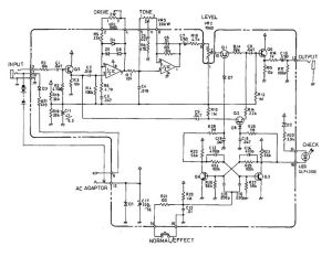 Schematic diagram of Boss SD1 Super OverDrive pedal