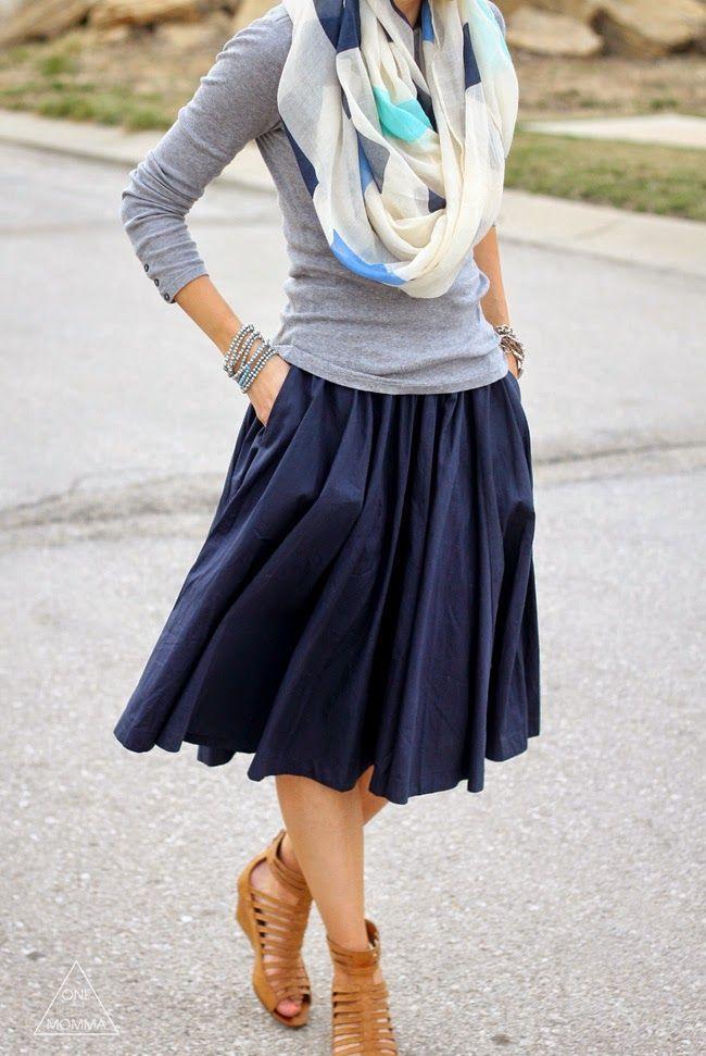 Navy midi skirt, grey tee, printed scarf, gladiator